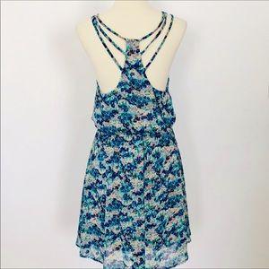 Lush Shades of Blue & Green Floral Print Dress